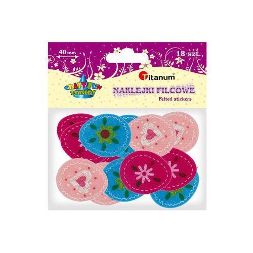 Naklejka filcowa pisanki ozdoba 18szt 3,5x4,3cm - kwiatki, serca marki Titanum