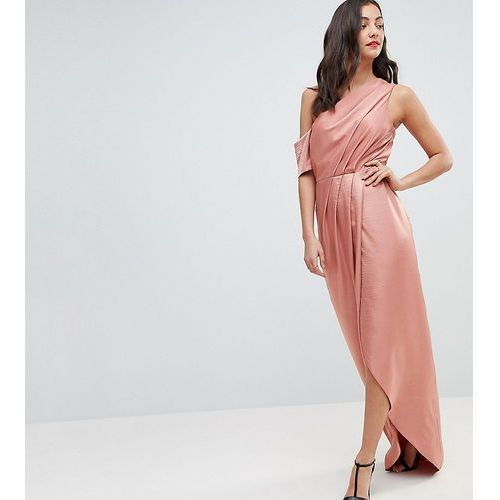 hammered satin one shoulder maxi dress - orange, Asos tall