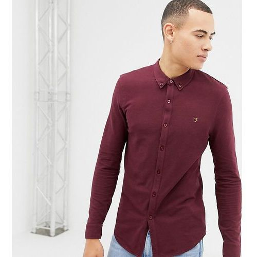 Farah Kompis slim fit pique jersey shirt in burgundy Exclusive at ASOS - Red, w 5 rozmiarach
