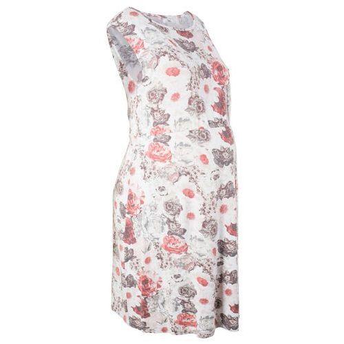 Sukienka ciążowa shirtowa bonprix jasnoróżowo-szary z nadrukiem, kolor różowy