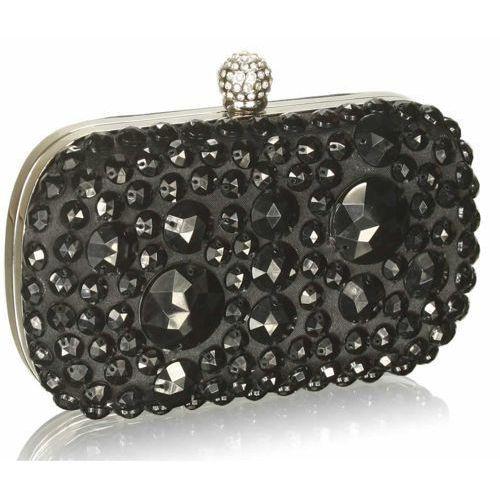 Wielka brytania Kryształowa czarna wizytowa torebka damska - czarny