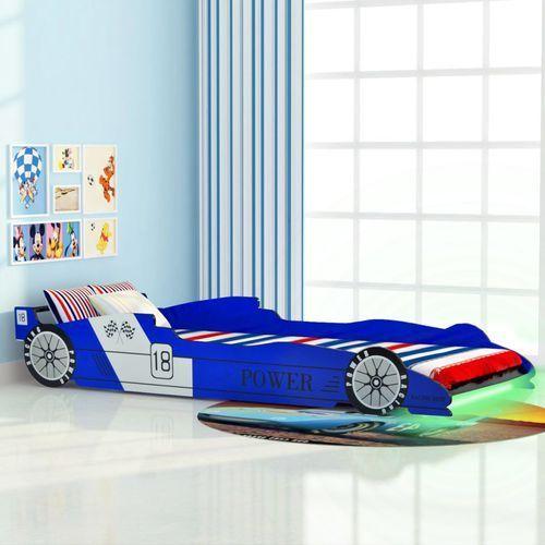 vidaXL Łóżko dziecięce w kształcie samochodu, 90 x 200 cm, niebieskie (8718475528128)