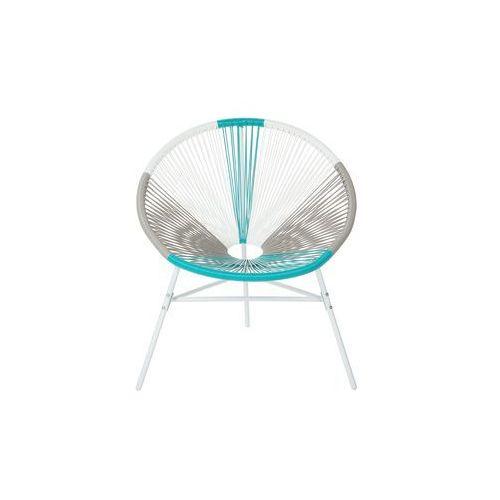 zestaw 2 krzeseł rattanowych biało-beżowo-turkusowe acapulco marki Beliani