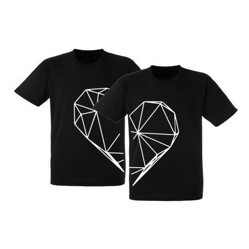 Koszulki Czarne Prezent Par Walentynki Serce - ZDC0708