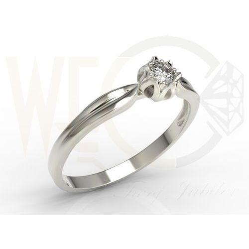 Pierścionek w kształcie konwalii z brylantem, z białego złota palladowego ap-4012b-pal marki Węc - twój jubiler