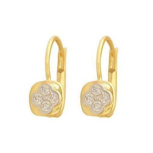 Kolczyki złote 585 kwadraty z cyrkoniami wyłożonymi w kwiatuszka marki Lovrin
