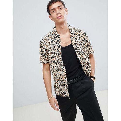Bellfield Short Sleeve Shirt With Cheetah Print - Beige