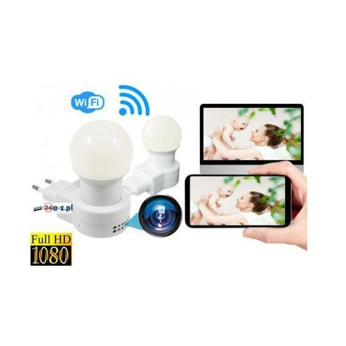 Szpiegowska Kamera FULL HD WiFi/P2P (zasięg cały świat!) Ukryta w Lampce Nocnej + Zapis +..., 590974211687