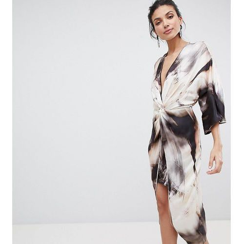 Asos design tall midi kimono dress in abstract print - multi, Asos tall