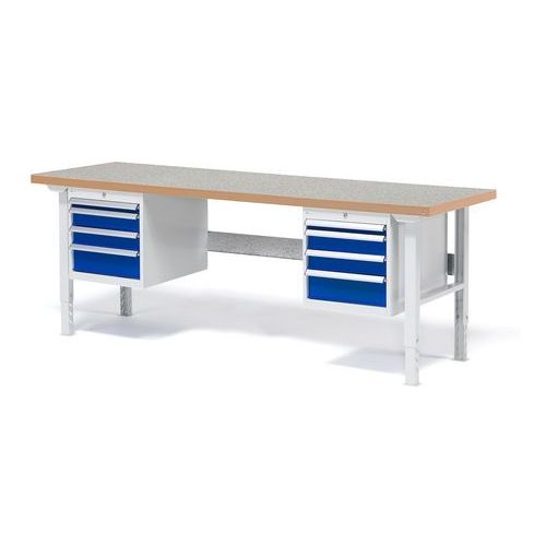 Stół roboczy solid, zestaw z 8 szufladami, 500 kg, 2000x800 mm, winyl marki Aj produkty