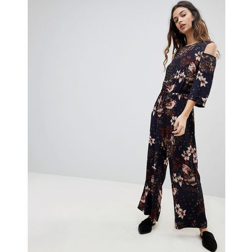 Y.A.S Ilvaly Floral Cold Shoulder Jumpsuit - Navy