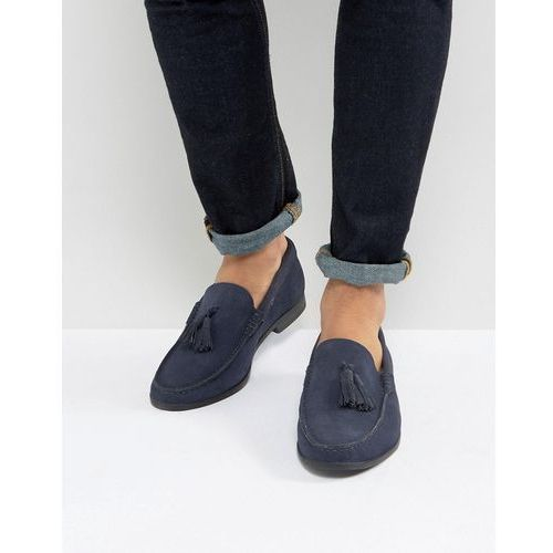 tassel loafers in navy suede - black, Frank wright