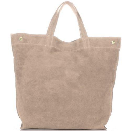 Vera pelle Włoskie torebki skórzane shopperbag z zamszu naturalnego beżowy (kolory)