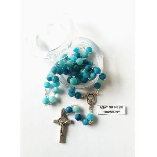 Różaniec z kamieni agat niebieski trawiony z medalikiem Jana Pawła II i Matki Bożej