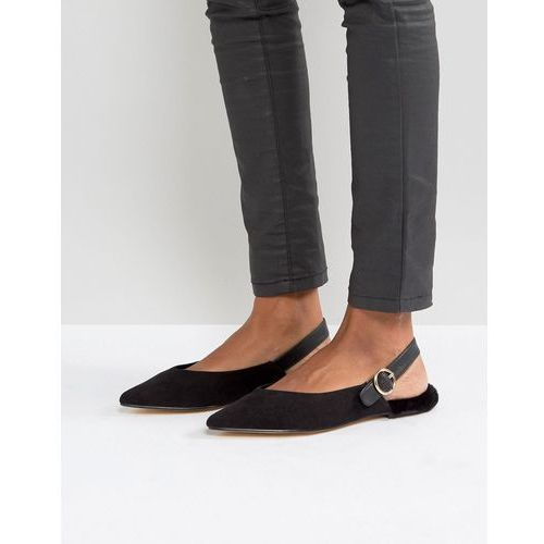 River Island Pointed Faux Fur Lined Flat Shoes - Black