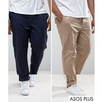 plus 2 pack slim chinos in stone & navy save - multi, Asos