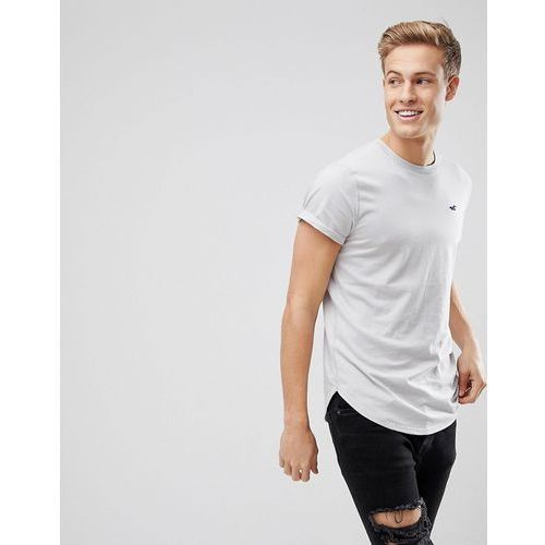 Hollister curved hem crew neck t-shirt seagull logo in textural grey - grey