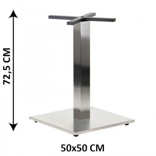 Podstawa stolika SH-2002-2/S, 50x50 cm, stal nierdzewna szczotkowana, obciążnik z tworzywa sztucznego, (stelaż stolika), SH-2002-2/S