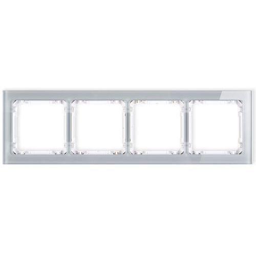 Deco ramka uniwersalna poczwórna efekt szkła (ramka szara spód biały) szara 15-0-drs-4 marki Karlik