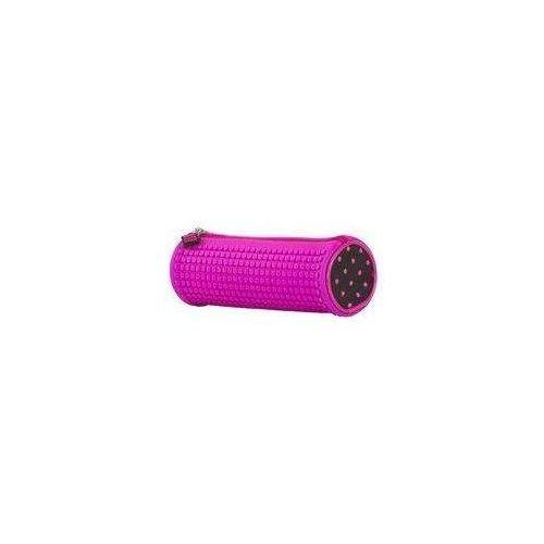 Piórnik tuba w kolorze fuksji z silikonowym panelem
