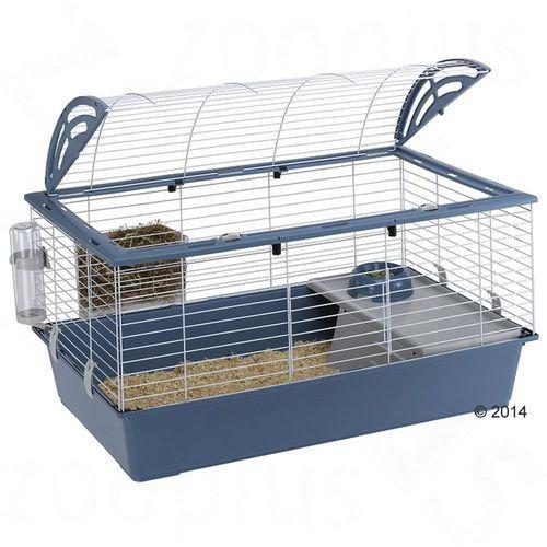 casita 100 klatka dla małych zwierząt - niebieska, dł. x szer. x wys.: 96 x 57 x 56 cm marki Ferplast