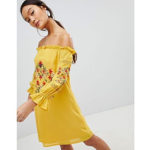 off shoulder embroidered dress - yellow, Parisian