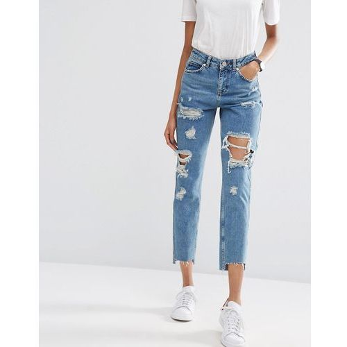 ASOS Original Mom Jeans in Jana Mid Stonewash with Busts and Stepped Hem - Blue