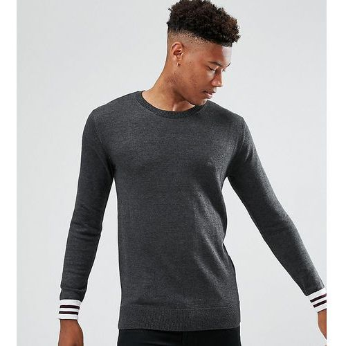 French Connection TALL Crew Neck Knitted Jumper with Contrast Cuff - Grey