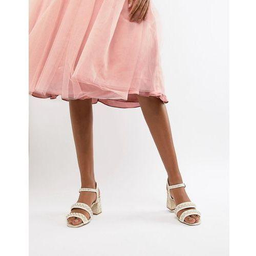 River Island Pearl Detail Block Heeled Sandals - Cream, kolor beżowy