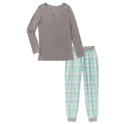 Piżama flanelowa bonprix szary melanż z nadrukiem, kolor wielokolorowy