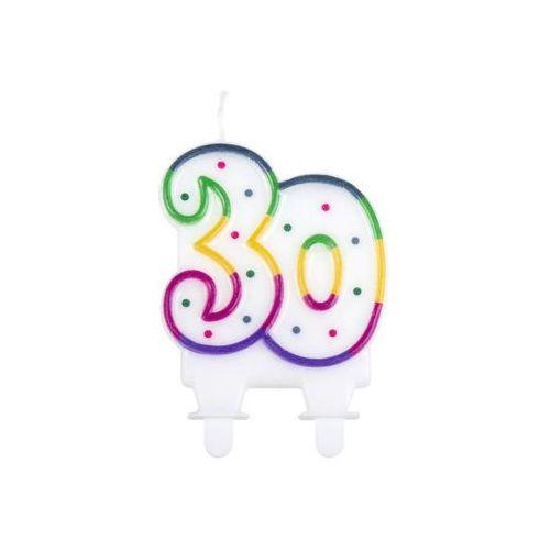 Świeczka na 30-tke z kolorową obwódką i kropeczkami - 1 szt.