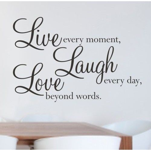 Giftworld Naklejka dekoracyjna na ściane live laught love (5903181041952)
