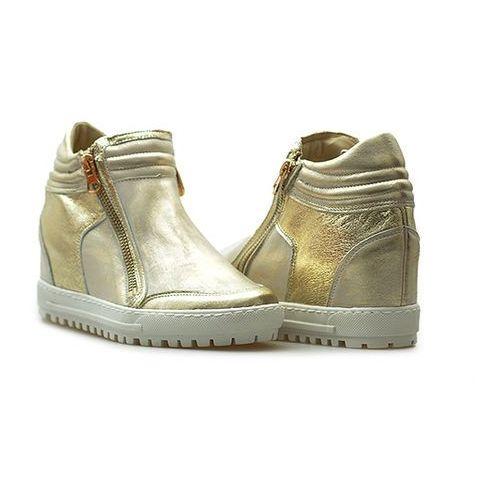 Sneakersy 66-4008-672/f16-1g złote lico, Eksbut