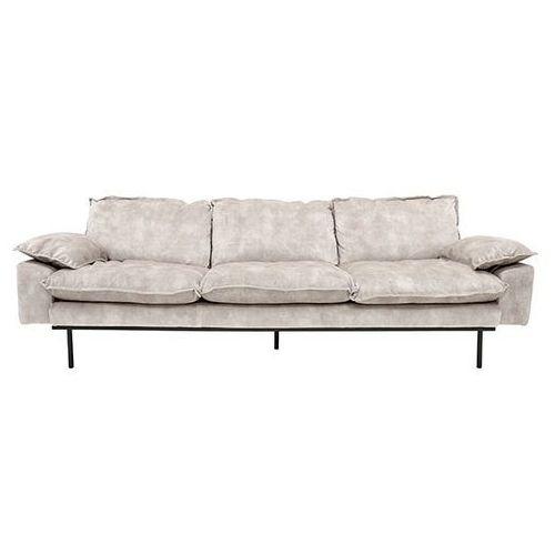 HK Living Sofa Retro 4-osobowa aksamitna w kolorze kremowo-białym MZM4668