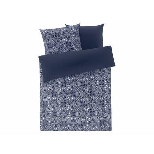 Meradiso® pościel satynowa 160 x 200 cm, 1 komplet (wzór ornamentowy niebieski)