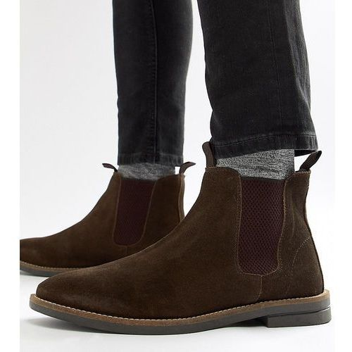 wide fit chelsea boots in brown suede - brown, Silver street