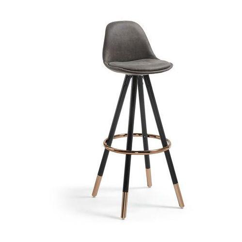 Hoker / Krzesło barowe PORFIO czarny - grafitowy