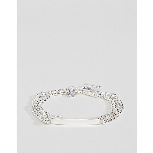 Chained & able double wrap id bracelet in silver - silver