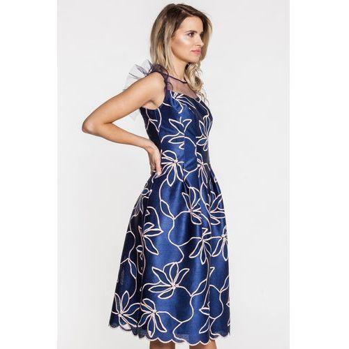 Suknia wieczorowa z kwiatowymi wyszyciami - EMOI, kolor niebieski