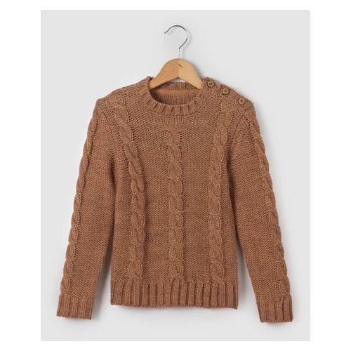 Ciepły sweter o splocie warkocza z zaokrąglonym kołnierzem 3-12 lat
