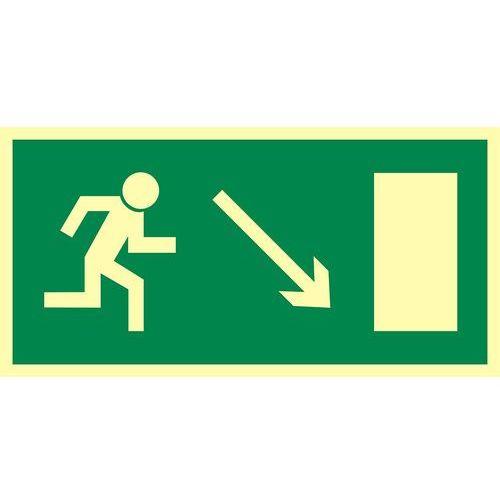 Kierunek do wyjścia drogi ewakuacyjnej w dół w prawo (znak uzupełniający) marki Top design