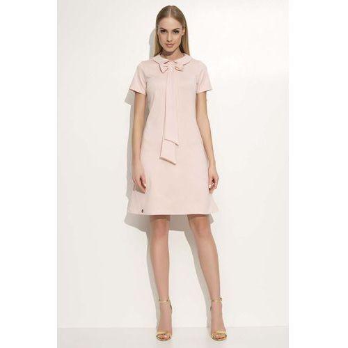 Różowa Sukienka Trapezowa Midi z Kołnierzykiem i Krawatem, w 2 rozmiarach