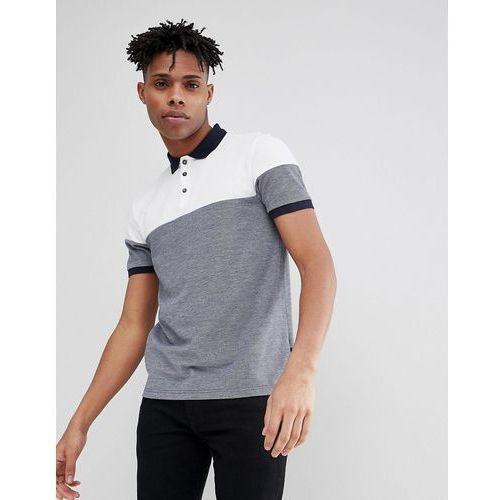 Burton menswear colour block t-shirt in navy and white - navy