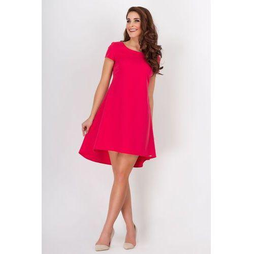 Czerwona Letnia Kloszowana Sukienka z Dłuższym Tyłem w Kontrafałdy, w 4 rozmiarach