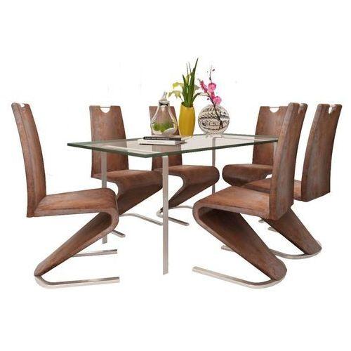 Krzesła wspornikowe do jadalni, 6 szt., sztuczna skóra, brązowe marki Vidaxl