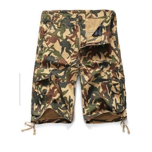 Zipper fly straight leg camouflage pattern pockets embellished shorts for men marki Rosewholesale