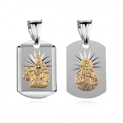 Produkt polski Srebrny medalik jezus / matka boska szkaplerzna pozłacana