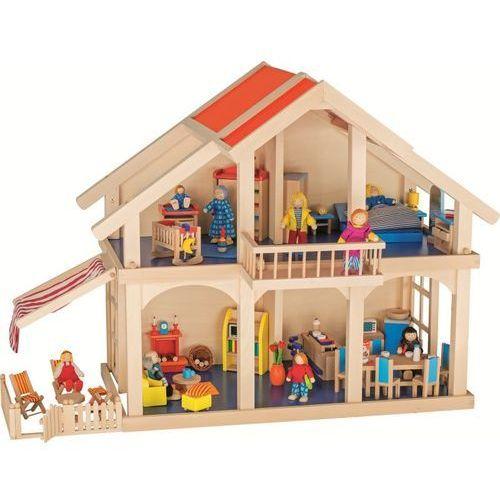Goki Dwupiętrowy domek dla lalek z werandą i balkonem (4013594518932)
