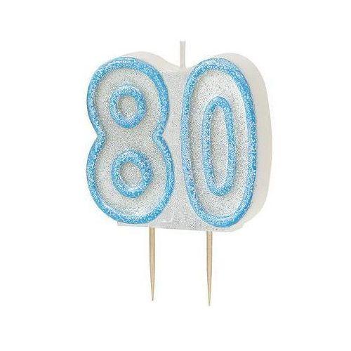 Brokatowa świeczka na 80-tke z niebieską obwódką - 1 szt. marki Unique
