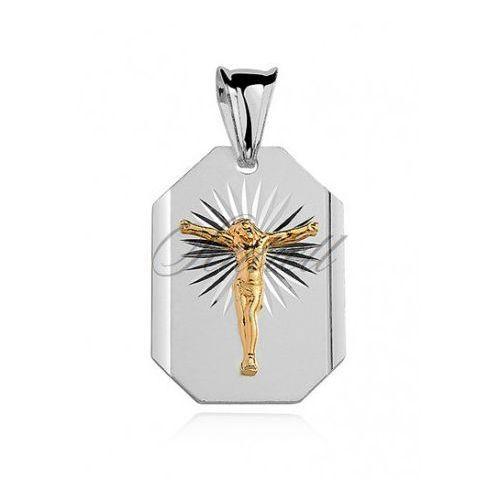 Srebrny diamentowany medalik pr.925 jezus na krzyżu pozłacany - md017g marki Sentiell